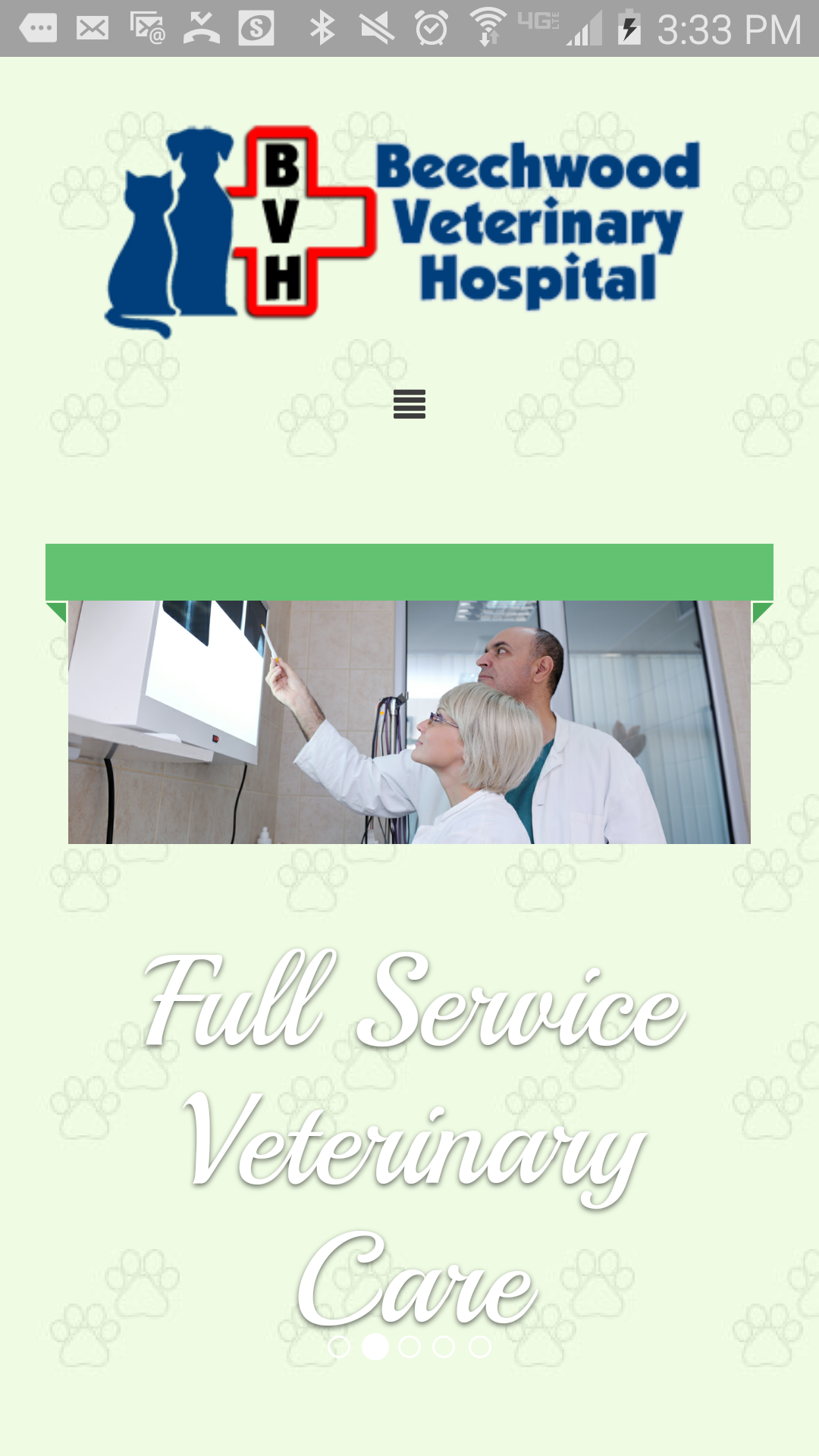Beechwood Veterinary Home: Mobile View