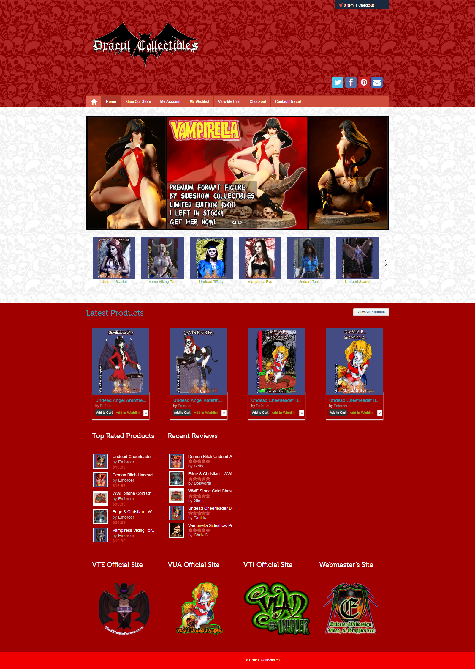 Dracul Collectibles Online Comic Shop: Desktop View