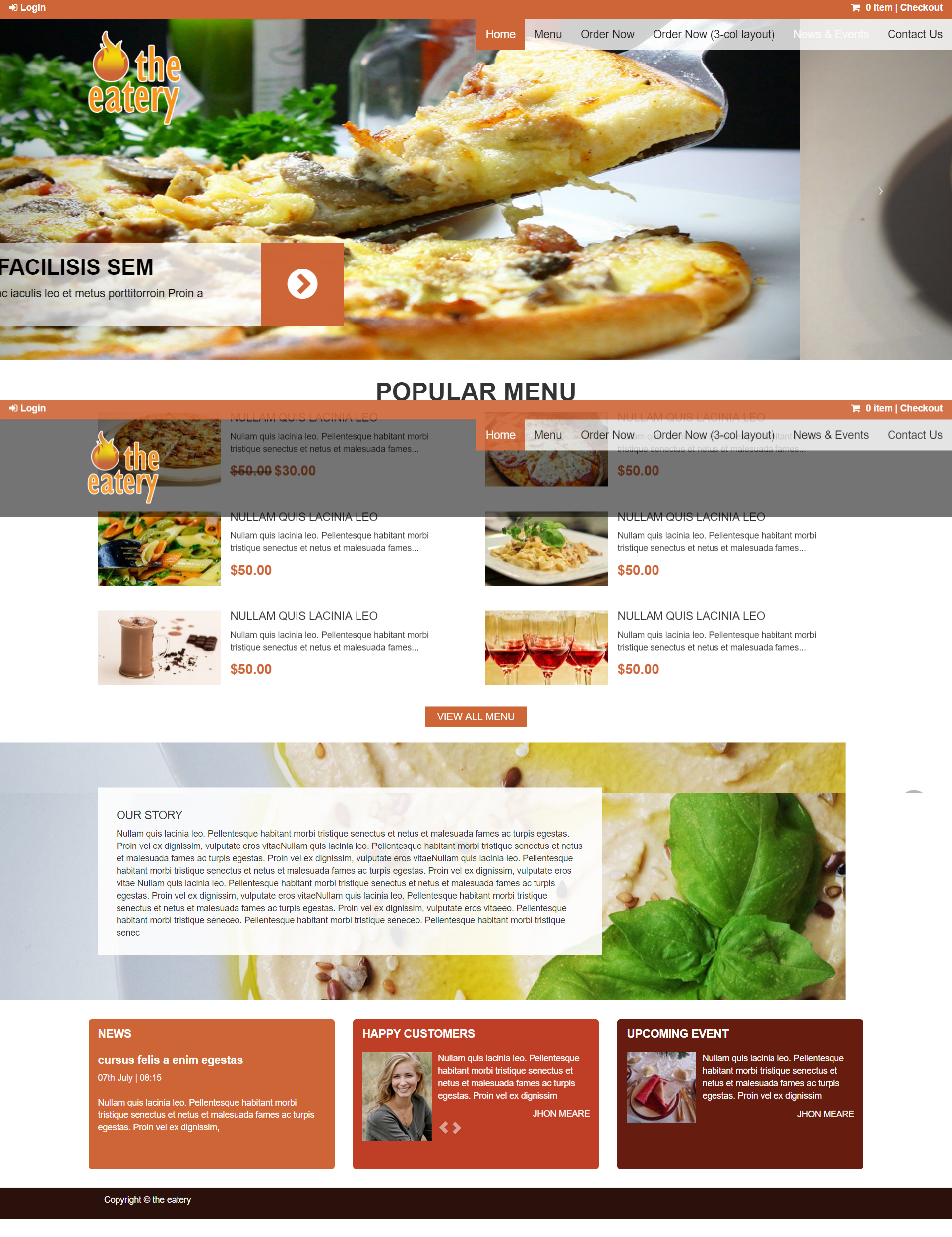 The Eatery Pizza & Italian Dining: Desktop View